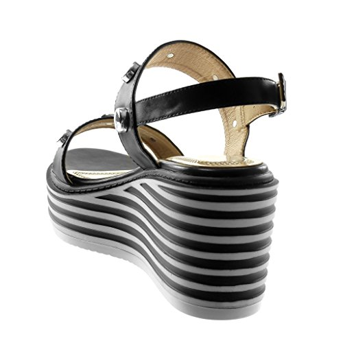 Lanière Plateforme Clouté Mule Compensé CM Plateforme Femme Chaussure Angkorly Mode Talon Noir Cheville Lanière 7 Sandale 5 7WAzqf
