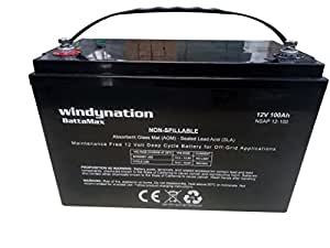 WindyNation 12V 100 Amp-Hour (240 Minute Reserve Capacity) AGM SLA Deep Cycle VRLA Battery RV, Solar, Wind, Marine, Off - Grid