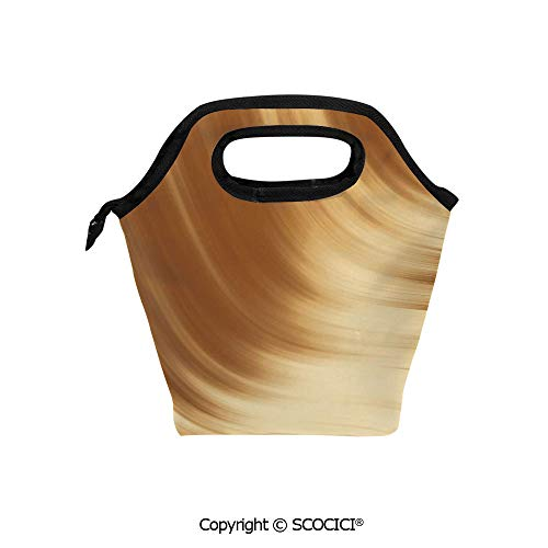 (Picnic Food Insulated Cooler Tote Lunch Bag Curved Wave Like Conceptual Artistic Display Creamy Effect Soft Colored Subtle Image Organizer Lunchbox for Women Men Kids. )
