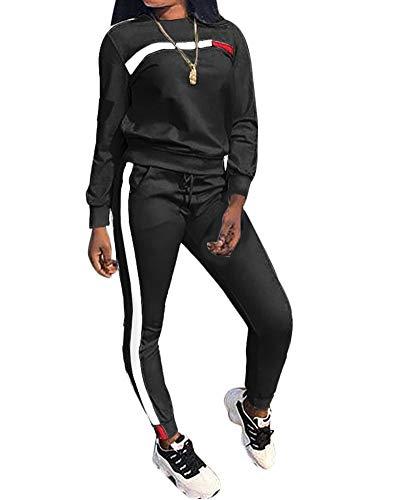 Women's 2 Piece Outfits – Stripe Patchwork Sweatsuits Long Short Sleeve Pullover Sweatshirt Skinny Pants Tracksuit Set