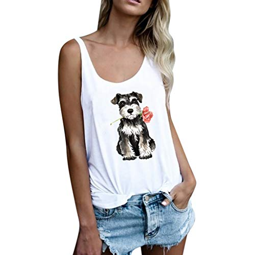 - FarJing Women Casual Dog Rose Print Vest Sleeveless Loose Crop Tank Tops Blouse T-Shirt(M,White)