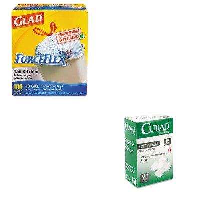 kitcox70427miicur110163-value-kit-curad-sterile-cotton-balls-miicur110163-and-glad-forceflex-tall-ki