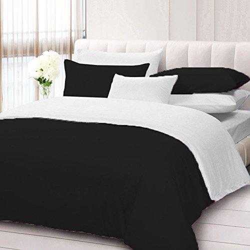 Reliable Bedding King/Cal-King Size 600TC 100% Egyptian Cotton 3PCs Reversible Duvet Set Solid Color Black/White