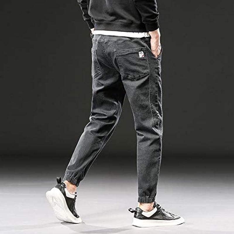 Dżinsy męskie, duży rozmiar, rozciągliwe spodnie typu haremki Plus Size Loose Baggy, dżinsy męskie, elastyczna talia, szaro-zielone, spodnie 3XL: Sport & Freizeit