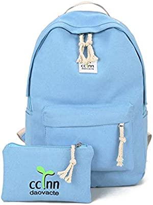 7ded35b46a 2PCS SET Fashionable Design Women Canvas Backpack Casual Teenage Girls  Students School Bag Travel Shoulder ...