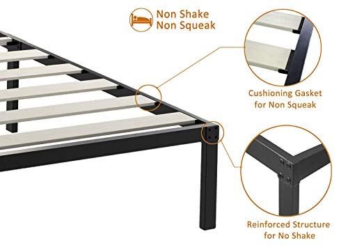 ZIYOO 14 Inch Platform Metal Bed Frame/3500lbs Heavy Duty/Strengthen Wooden Slat Support/Mattress Foundation/No Box Spring Needed/Quiet Noise Free, Twin/Twin XL/Full/Queen/King/Cal King (Queen)
