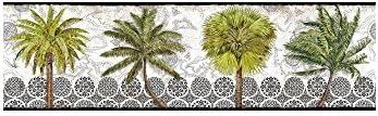 York Wallcoverings bp8176bd BorderポートフォリオII Delray Palm Borderリムーバブル壁紙、、、ブラック/ホワイト/グリーン