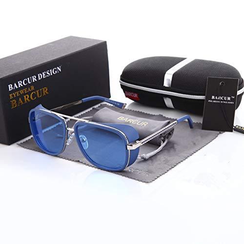 eNikee Tortoise Sunglasses IRON MAN TONY Stark 3 2 1 Steampunk Men Mirrored Polarized Matsuda BLUE COLOUR UV400
