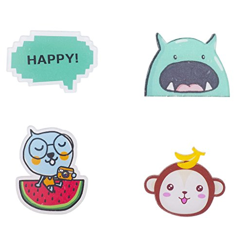 Lux Accessories Kitschy Assorted Characters and Happy Pin Set (4PCS)