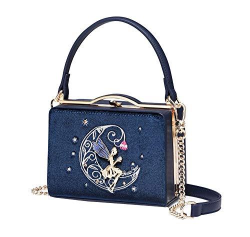 Nite closet Velvet Purses and Handbags Cute Lolita Moon Fairy Shoulder Bag for Women Vintage Clutch (Navy) ()
