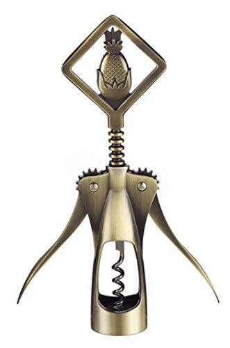 Antiqued Gold Pineapple Wine Corkscrew Winged Wine Opener Deal (Large Image)