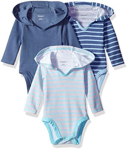 Hanes Ultimate Baby Flexy 3 Pack Hoodie Bodysuits, Blue Stripe, 18-24 ()