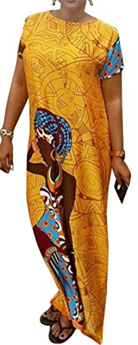 Cromoncent Femmes Manches Courtes Imprimé Floral Lâche Dashiki Robe Swing Droit Jaune
