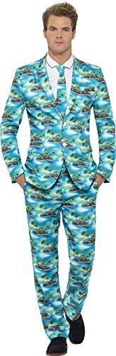 Smiffy's Men's Aloha! Suit, Jacket, pants and Tie, Stand out Suits, Serious Fun, Size L, 40083