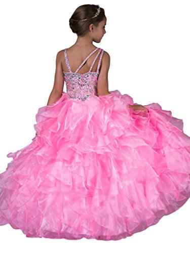 Aisha Little Girls' Crystal Ruffled Ball Gown Floor Length Pageant Dresses 6 US Pink