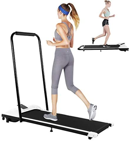 Folding Treadmill - Under-Desk Walking Treadmill, Jogging Exercise Machine with RC and LED Display, Gym Professional Fitness Equipment for Home (White) 1