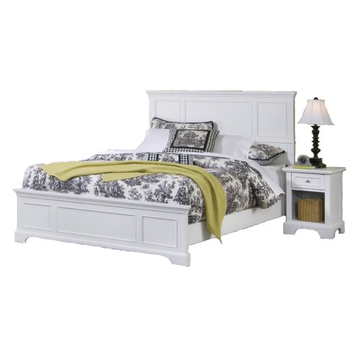 Home Styles 5530-6013 Naples Bed Frame and Night Stand, King, White by Home Styles