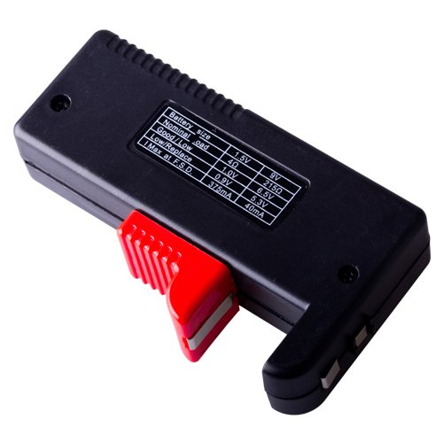flexzion Universal bater/ía Tester Volt Checker Prueba de carga para AA AAA C D 9/V 1,5/V de Bot/ón Tipo Pilas con LCD Pantalla con c/ódigos y ajustable brazo f/ácil de leer