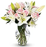 Benchmark Bouquets Light Pink Roses and White Oriental Lilies, With Vase