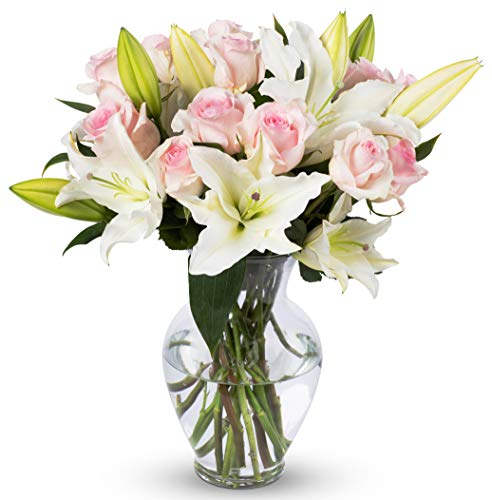 Benchmark Bouquets Light Pink Roses and White Oriental Lilies, With Vase (Fresh Cut - Ftd Rose Bouquet