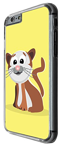 1136 - Cute Fun Cat Animal Drawing Yellow Design For iphone 5 5S Fashion Trend CASE Back COVER Plastic&Thin Metal -Clear