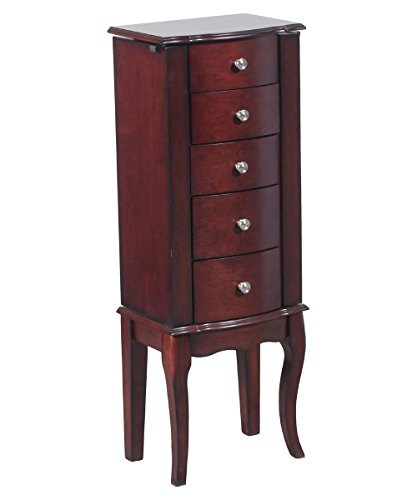 Powell Marlo Jewelry Armoire with 5 Drawers and Mirror - Cherry (Small Mahogany Jewelry Armoire)