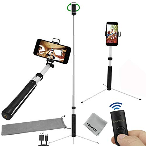 Gurmoir 60inch Extendable Bluetooth Selfie Stick Tripod Stand with Wireless Remote with Fill Light for iPhone 8 Plus/8/7/6 Plus/XS/XR/XS MAX/Galaxy S9/S9 Plus/Note 8/S8/S8 Plus and More Mobile - Phone 60