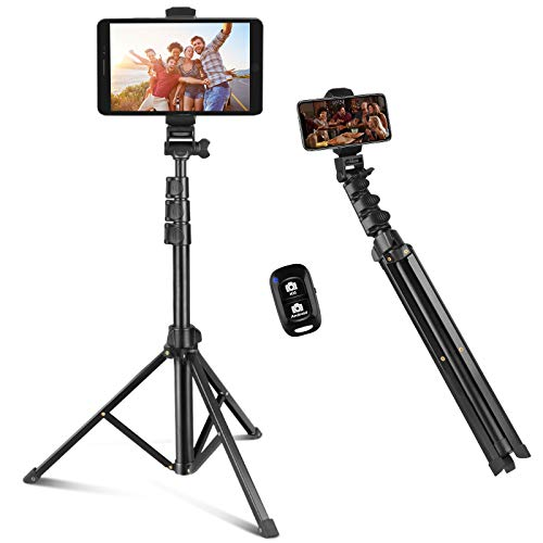 Selfie Stick & Phone Tripod, Sensyne 67″ Extendable Travel Tripod Stand with Universal Phone/Pad Clip, Remote Shooting Compatible with iOS & Android Devices, Tripod for Video Shooting, Vlog