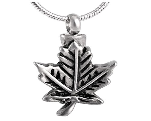 Casket Etcetera Maple Leaf Cremation Jewelry Urn Necklace for Ashes Stainless Steel