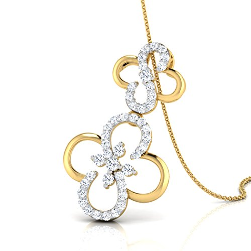 14 K Or blanc 0,33 CT TW Round-cut-diamond (IJ | SI) Pendentif