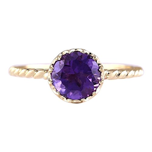 1.5 Carat Natural Violet Amethyst 14K Yellow Gold Solitaire Promise Ring for Women Exclusively Handcrafted in USA ()