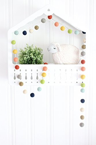 Farm to Table Handmade Felt Ball Garland by Sheep Farm Felt- Rustic Rainbow Pom Pom Garland. 2.5 cm balls.