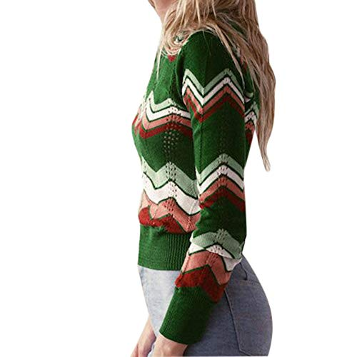 Women Stripe Knitted Sweaters,Sunyastor Round Neck Casual Color Block Long Sleeve Pullover Knitted Sweater Sexy Jumper Tops ()