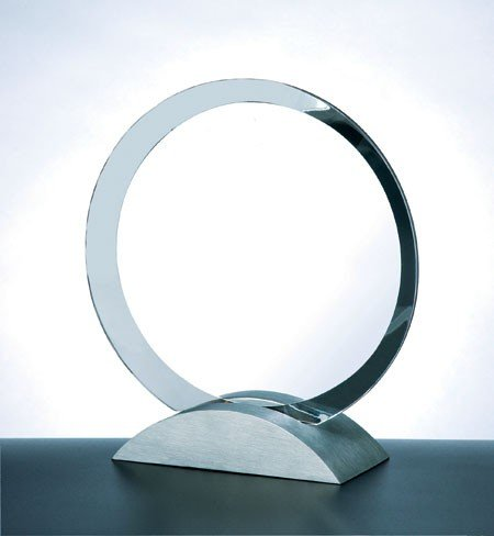 Optical Crystal Contemporary Award w/Aluminum Base