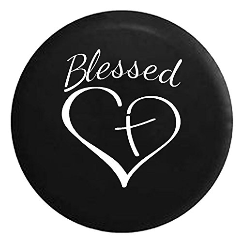 Blessed Heart with Cross Spare Jeep Wrangler Camper SUV Tire Cover White Ink 32 in