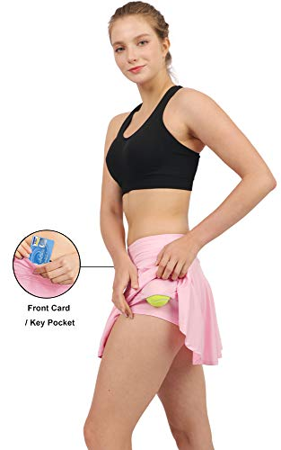 Women's Tennis Golf Skorts Workout Built-in Shorts Fitness Pleated Active  Running Skirts Light Pink