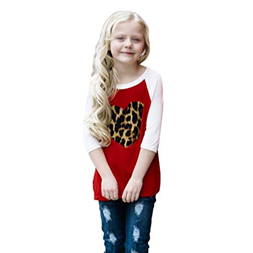 Amazon.com: FimKaul Mommy Me Fashion Family Outfits Heart Leopard Print Half Sleeve Blouse Matching Shirt: Clothing