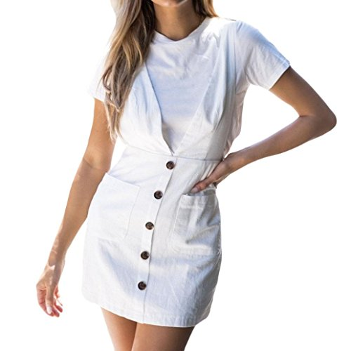 Spbamboo Loose Women's Casual Sleeveless Solid Button With Pocket Bib Midi Dress by Spbamboo