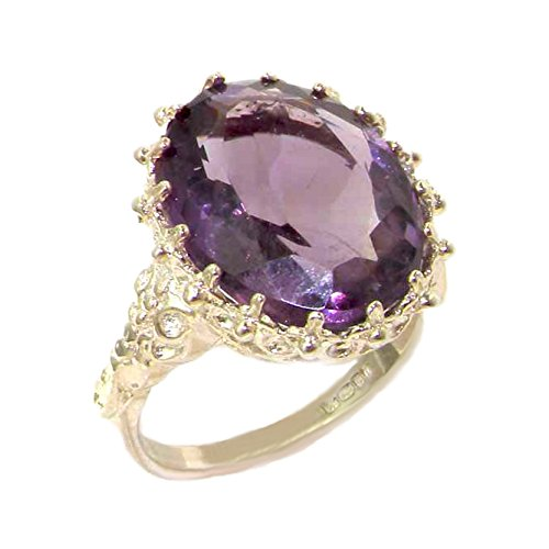 Amethyst Engagement Genuine Ring - 925 Sterling Silver Real Genuine Amethyst Womens Solitaire Engagement Ring - Size 6
