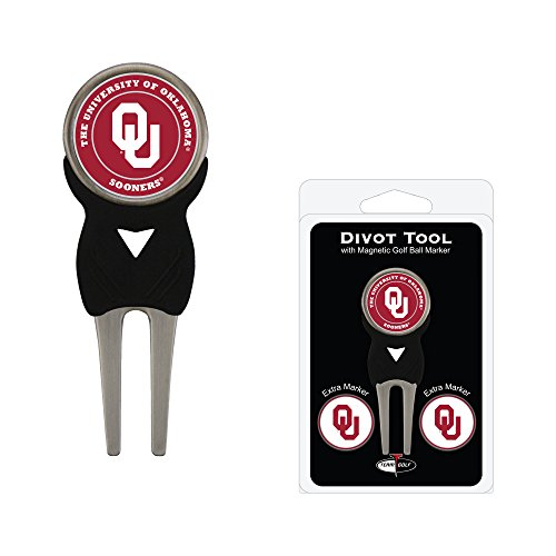 Team Golf NCAA Oklahoma Sooners Divot Tool with 3 Golf Ball Markers Pack, Markers are Removable Magnetic Double-Sided Enamel ()