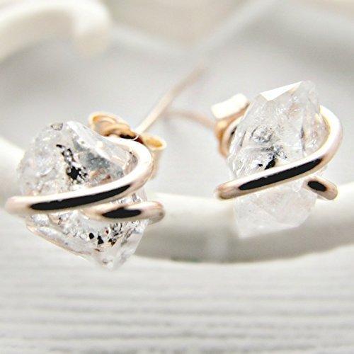 Rose Gold Earrings, Herkimer Diamond Earrings Studs, Rose Gold Post, Rough Diamond Earrings, Crystal Earrings, Quartz Studs, Diamond