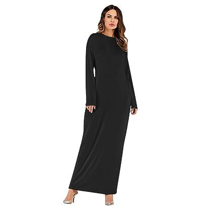 1bac6731f020 Amazon.com : Dianli Muslim Women's Maxi Dress, Long Sleeve Abaya Kaftan  Robes Clothing, Arabian Solid Color Modal Cotton Dress : Appliances