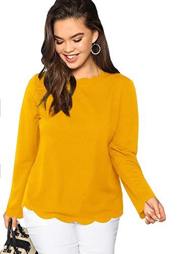 Edge Long Sleeve Tee - Romwe Women's Long Sleeve Plus Size Tee Scallop Edge Blouse Top Black 2XL