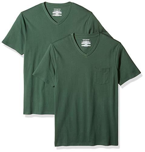 Slim Pocket T Green fit neck Dar Vert pack dark Amazon 2 V Essentials shirt 7ngct6