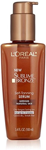 L'Oreal Paris Sublime Bronze Self-Tanning Serum, Medium Natural Tan 3.4 oz (Pack of 4) (Best False Tan For Pale Skin)