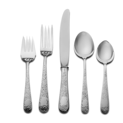 Kirk Stieff Old Maryland Engraved 5-Piece Sterling Silver Flatware Place Set, Service for 1 - Kirk Stieff Sterling Silver