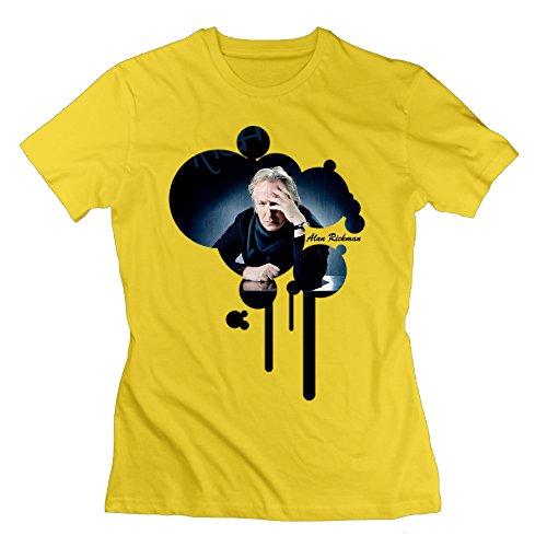 (SAXON Women's Alan Rickman Meditation Unique Tshirts Yellow Size S)