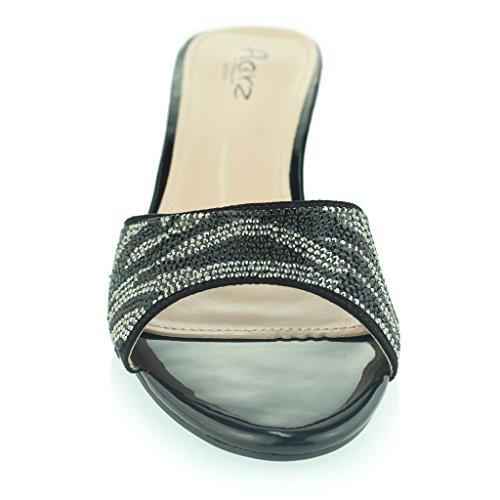 Frau Damen Sparkly Diamant Abend Party Abschlussball Schlüpfen Block Ferse Sandalen Schuhe Größe Schwarz