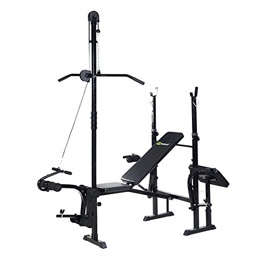 Goplus Adjustable Foldable Weight Lifting Flat Bench Rack Set Fitness Exercise