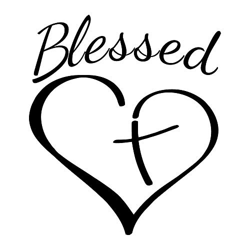 blessed-heart-blk Vinyl Decal (5in) ()